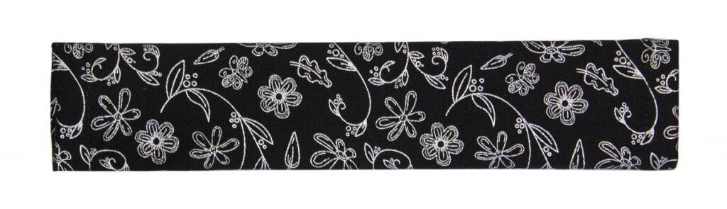 Potah na madlo kočárku - černé - stříbrné kytky