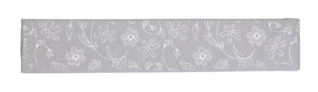 Potah na madlo kočárku - sv. šedé - stříbrné kytky