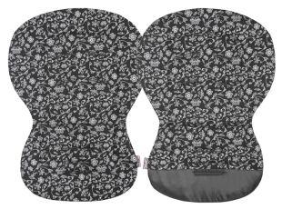 Unipodložka MOBY - černá + potisk stříbrné kytky