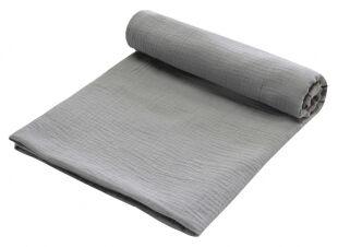 Zavinovací deka MUŠELÍN 120x120 cm - tmavě šedá