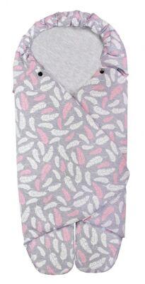 Zavinovačka BEA - růžová peříčka + šedý melanž