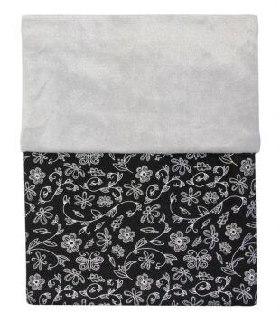 Deka MIMI černá - stříbrné květy + velvet světle šedý