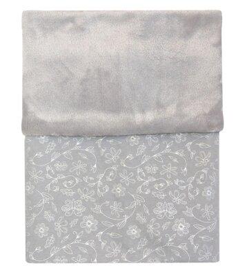 Deka MIMI světle šedá - stříbrné květy + velvet světle šedý