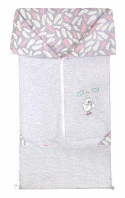 Fusak 2v1 BARY bavlna šedý melanž + pírka pink