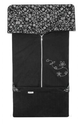 Fusak 2v1 FANDA fleece černá + černá stříbrný potisk kytky