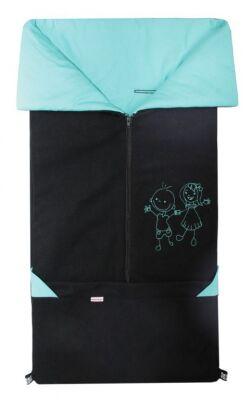 Fusak 2v1 FANDA fleece černý + bavlna aqua