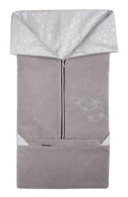 Fusak 2v1 FANDA tmavě šedá + světle šedá - stříbrné kytky